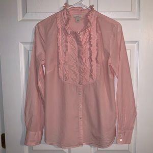 J.Crew Pink & White Striped Bib Shirt